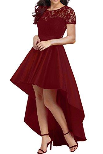 7cb819eeff AlvaQ Women s Elegant Lace Short Sleeve A-line High Low Skater Dress  Cocktail