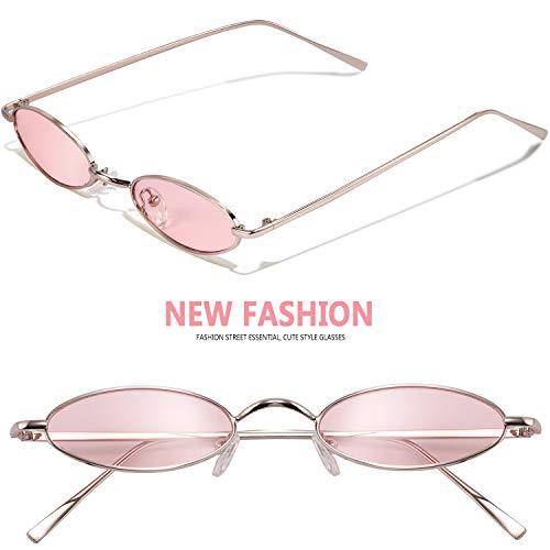 Vintage Oval Sunglasses For Women - Feirdio Small Metal Frame Candy Color ()