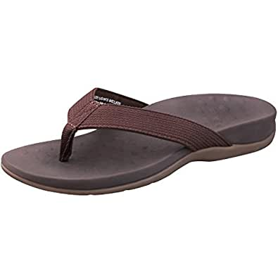 SESSOM&CO Women's Orthotic Sandals with Arch Support for Plantar Fasciitis Stylish Beach Flip Flops Outdoor Toe Post Sandal Brown Size: 5 Narrow