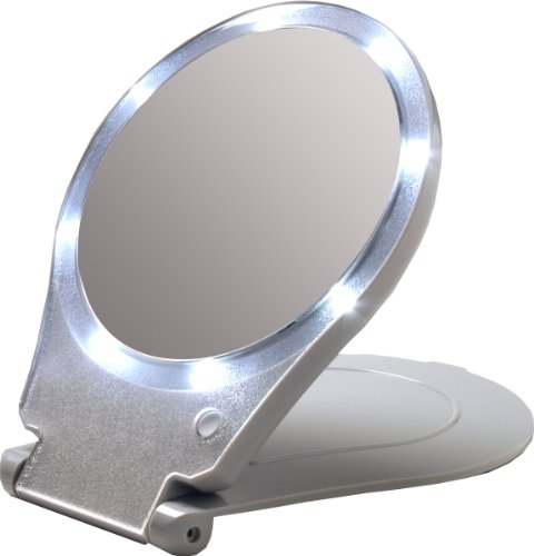 Floxite LED Lighted Travel and Home 10x Magnifying - Makeup Travel Mirror