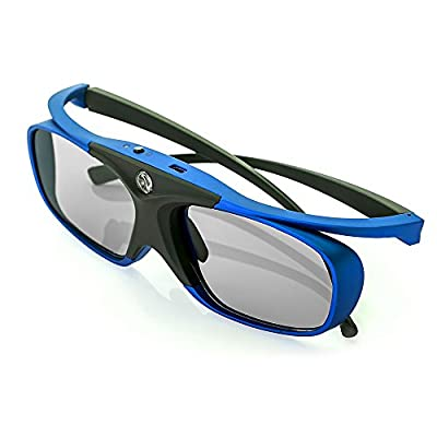 WOWOTO DLP Link 3D Glasses, Rechargeable 3D active Glasses for ALL DLP Projectors and DLP 3D TV's