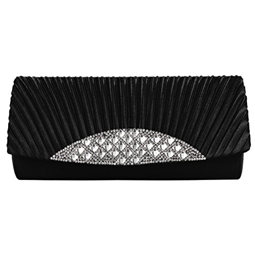 Strap Clutch Chain Embellishment Satin With Cross Body Fancy Rhinestone Black Removable and Anna Womens BqHxwfP