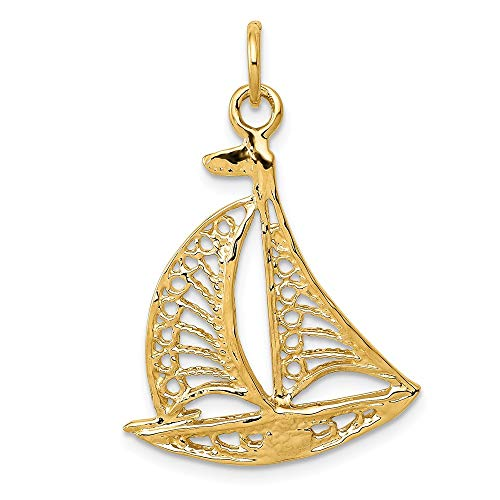 Jewel Tie 14K Yellow Gold Sailboat Charm - (1.1 in x 0.79 in)