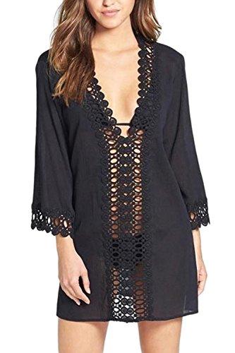 Vestido de Gasa de manga túnica Casual Vestido playa 3/4 de las mujeres Black