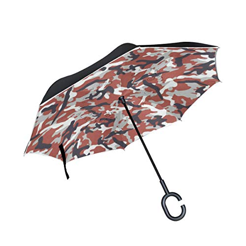 Inverted Umbrella Camouflage Pattern Double Layer Reverse Umbrella for Car Windproof UV Protection Big Straight with C-Shaped Handle