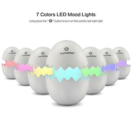 Touchshop Cool Mist Humidifier Mini Portable Egg Ultrasonic Air Humidifier Diffuser with Whisper-quiet Operation, Automatic Shut-off, Adjustable Mist Mode and LED Night Llight for Car Office Baby