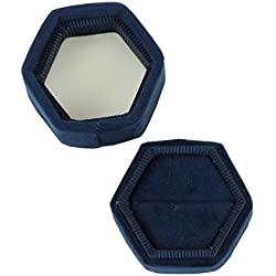 Koyal Wholesale Velvet Ring Box, Navy Blue, Hexagon Vintage Wedding Ceremony Ring Box with Detachable Lid, 2 Piece Engagement Ring Box Holder, Modern Proposal Idea, Slim Ring Box Display