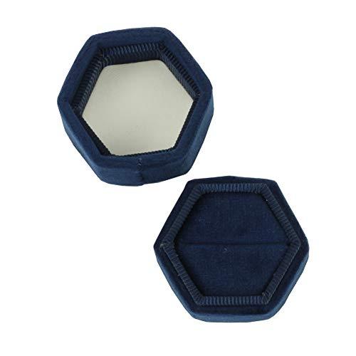 Koyal Wholesale Velvet Ring Box, Navy Blue, Hexagon Vintage Wedding Ceremony Ring Box with Detachable Lid, 2 Piece Engagement Ring Box Holder, Modern Proposal Idea, Slim Ring Box Display