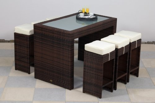 essella Polyrattan Bar-Set Barcelona in Bicolor-Braun