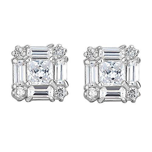 14k White Gold 9.3-mm Square Princess & Baguette-cut Cubic Zirconia Stud Earrings ()