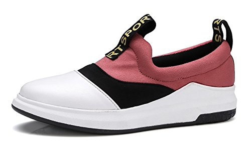 Aisun Womens Casual Color Block Round Toe Thick Sole Platform Flats Slip On Sneakers Shoes Pink S0PXP9VM