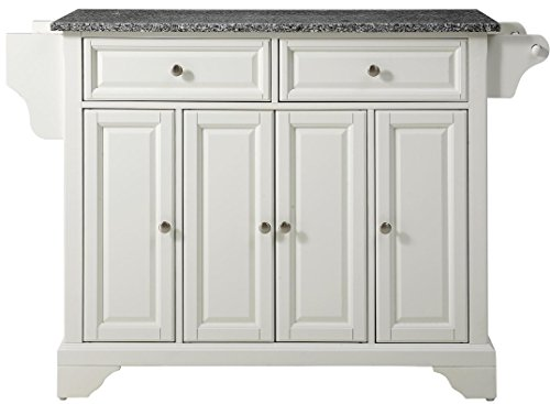 Crosley Furniture LaFayette Kitchen Island with Solid Grey Granite Top - White