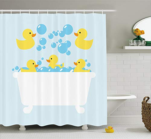 Lunarable Duckies Shower Curtain, Yellow Rubber Poultry Toys Inside a Tub Abstract Cartoon Style Drawing with Bubbles, Fabric Bathroom Decor Set with Hooks, 70 Inches, Multicolor