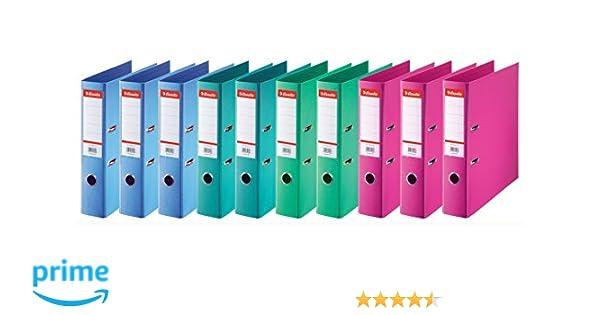 Esselte 624178 - Archivadores de anillas (lomo estándar de 75 mm, 10 unidades), diferentes colores: Amazon.es: Oficina y papelería