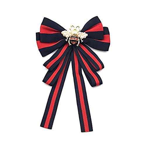 Fashion Red Ribbon Big Bowknot Brooch Pins 2018 For Woman Rhinestones Crystal Tie Collar Jewelry Accessories (Black) ()