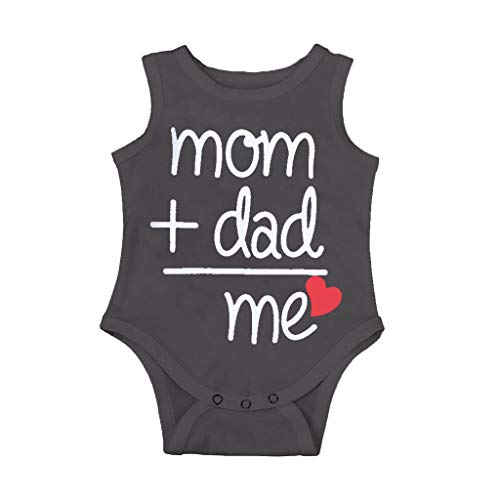 Clearance Sale 0-24 Months Newborn Infant Baby Kids Girl Boy Letter Print Romper Jumpsuit Sunsuit Outfits Clothes (Gray sleeveless, 3-6 Months)
