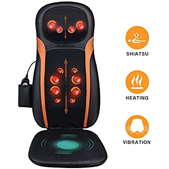 Amazon.com: Shiatsu Back & Neck Massager for Chair, Massage Seat Cushion with Heat, Full Back Deep Kneading, Adjustable Neck Height and Vibration - Relieve Muscle Pain on Neck Shoulders Back and Hip: Health & Personal Care