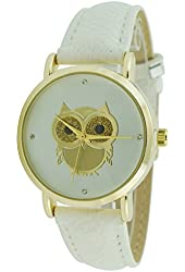 Women's Gold Owl Dial Watch White Genuine Leather Band Gold Case White Dial