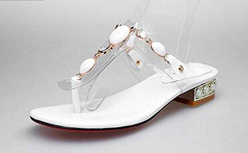 GLTER Verano Toe Abrir Toe De Transparente Sandalias Gema Talón 2017 Zapatillas white Cool Cómodo Nacional Flip Flops Mujeres Cine Nueva De Folder rCxvwr