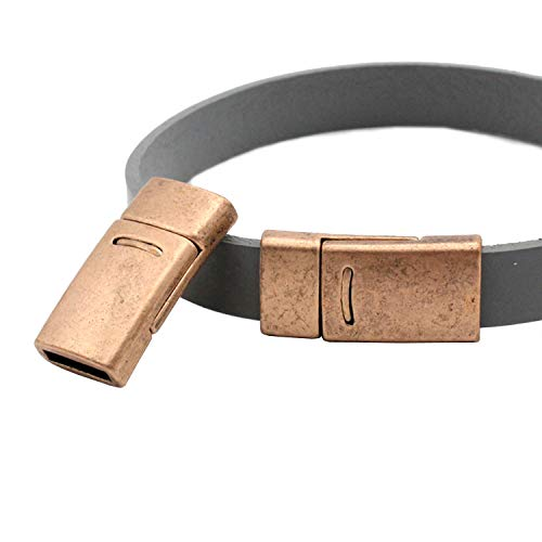 10 Pieces for 10x2 Leather Strip Glue Magnetic Clasps and Closure Antique Copper,10mm Copper Bracelet End Clasps 10mmx2mm Inner Hole