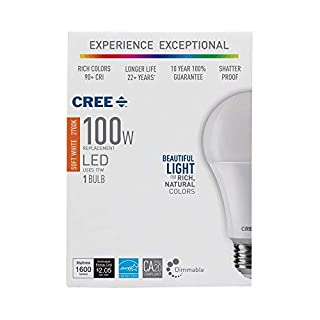 Cree LED 100W Equivalent Light Bulb, A21, Dimmable, CRI 90 (Soft White, 3-Pack)