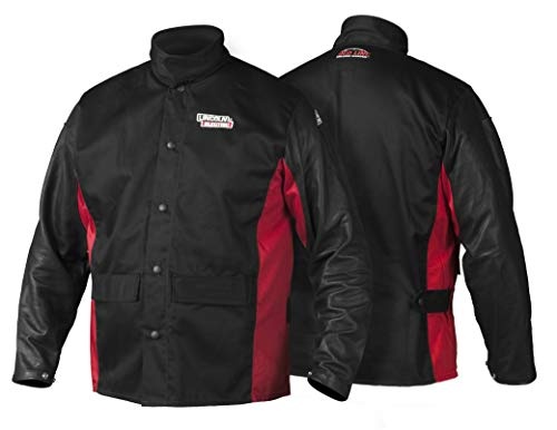 Lincoln Electric Grain Leather Sleeved Welding Jacket | Premium Flame Resistant Cotton Body | Black & Red | Medium |  K2987-M