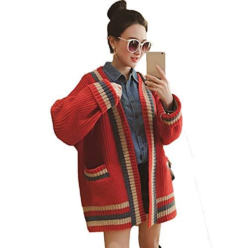 Lenmumu vネックトップス レディース カーディガン ニット セーター ファッション かわい 秋冬 厚み アウター ラインニットカーディガン ゆったり袖口 オシャレ度アップ ノーマル丈