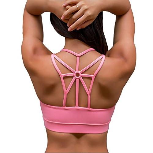 06aeba134c673 YIANNA Women s Padded Sports Bra Cross Back High Impact Strappy Yoga Bra  high-quality