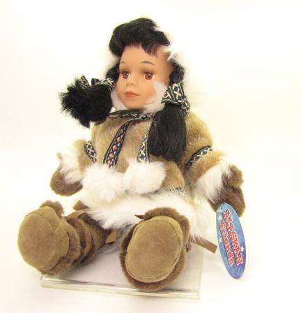 Alaskan Friends Traditional Alaskan Eskimo Doll with Fur Parka 13 -