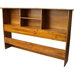 Stockholm Bamboo Solid Bookcase Headboard, Full/Queen-size, Medium Oak