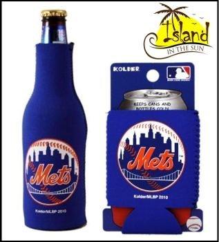 SET OF 2 NEW YORK METS MLB CAN & BOTTLE KOOZIE COOLER