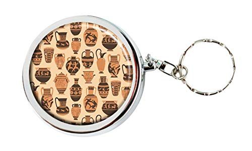 Okworld Greek Pottery Ashtray Portable Travel Size Pocket Purse Ashtray Keychain with Cigarette Holder