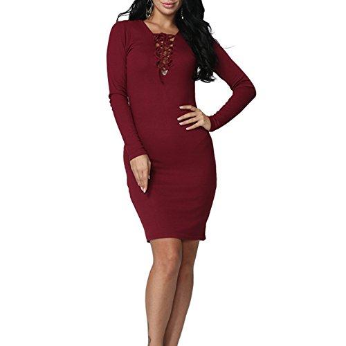 Sleeve cut Neck Cross Dress Women guan Bandage dao Red Knitting Long V Low Bodycon Uz16Rq