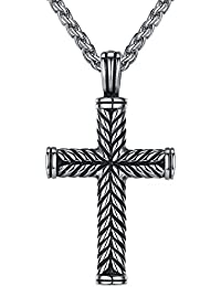 """Men's Stainless Steel Religious Cross Pendant Necklace, 24"""" Link Chain, hhp003yi"""