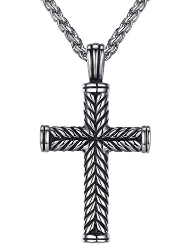 Aoiy Mens Stainless Steel Religious Large Cross Pendant Necklace, 24 Link Chain, hhp003yi