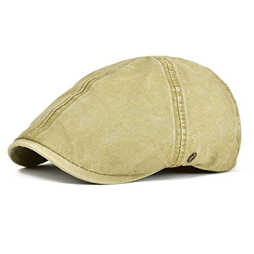 VOBOOM Ivy Caps 100% Cotton Washed Plain Flat Caps Newsboy Caps Cabbie hat (59cm-60cm=7 3/8-7 1/2, Khaki)