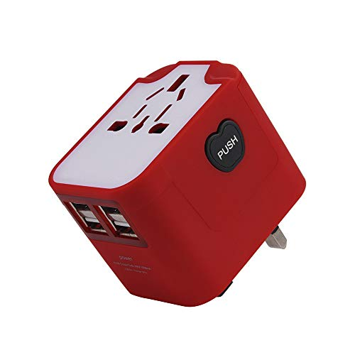 4 USB Ports International Travel Power Adapter,All-in-one Universal Power Converters for EU,UK,US,AU,Iceland,India,Ireland,Thailand,South Korea,China ect More Than 150 Country (Red)