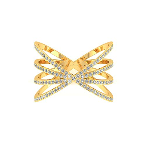 ASHNE JEWELS IGI Certified 0.43 carat Real Diamond Designer Criss Cross Ring Made in 14K Solid Yellow Gold Fine Jewelry For Women