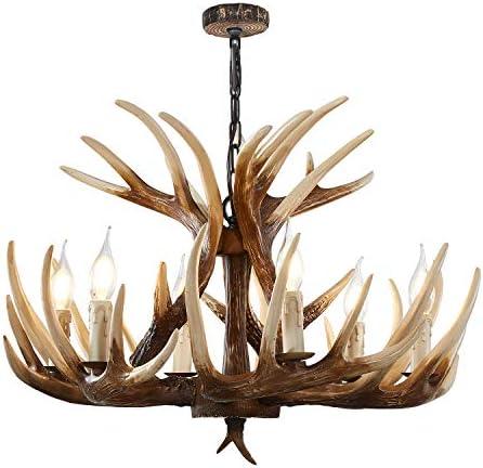 """Antler Chandelier 6 Light Vintage Style Resin Antler Ceiling Light 24.5"""" Diameter X 15.75"""" Tall"""