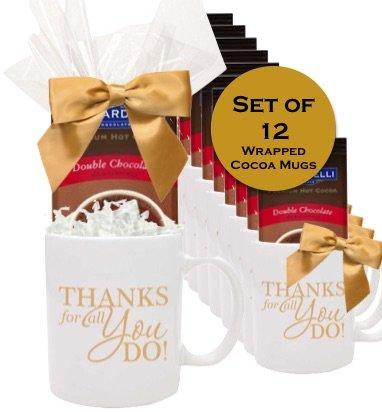 Set 12 Cocoa Gift Mugs/Holiday Thank you Mugs/Ghirardelli Cocoa Gift Mugs/ Thanks/Corporate Thank You Gifts/Business Mugs/Employee Appreciation Gift Mugs