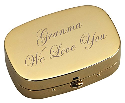 Personalized Gold Pill Box, Engraved Pill Case, Custom 3 Compartment Pharmaceutical Pocket Holder & Compact Mirror, Monogram Pill Box and Mirror