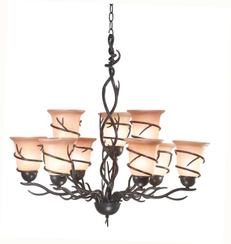 - Kenroy Home 90909BRZ  Twigs 9-Light Chandelier, Blackened Bronze Finish