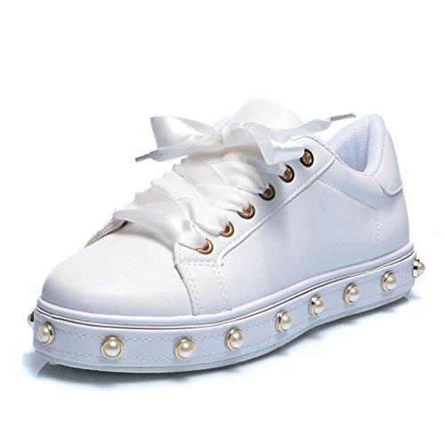 c Ginnastica 83 Donna Pelle Stringata Eco da Lacci Scarpe Sneakers Bianco Perle Casual MForshop PqwBSHfnw