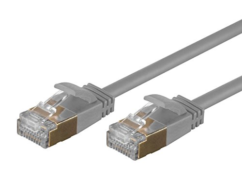 Monoprice SlimRun Cat6A Ethernet Patch Cable - Network Internet Cord - RJ45, Stranded, STP, Pure Bare Copper Wire, 36AWG, 50ft, ()