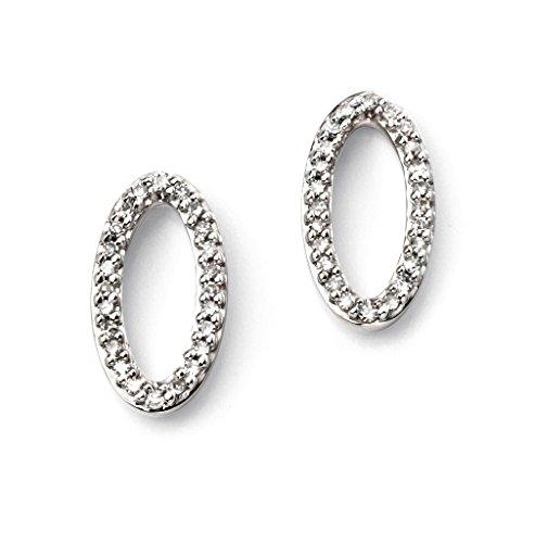 Or blanc 9carats Hauteur ovale Sterling Boucles d'oreille à tige avec diamants
