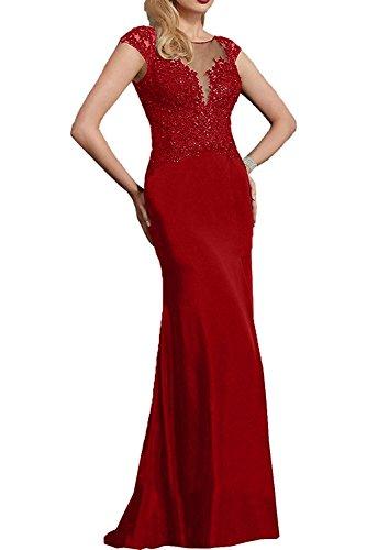 Braut Langes Partykleider La Spitze Fuchsia Brautmutterkleder Rot mia Kurzarm mit Dunkel Dunkel Abendkleider Festlichkleider Rq5gw
