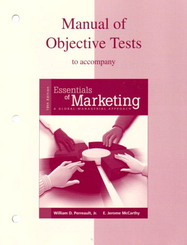 Manual of Tests to Accompany Essentials of Marketing