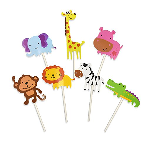 LaZimnInc 28-Pack Cute Animal Cupcake Toppers Picks,Jungle Animals Cupcake Toppers for Kids Baby Shower Birthday Party Cake Decoration Supplies