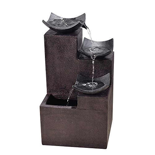 Peaktop VFD8306 Outdoor Garden Tiered Modern Zen Fountain, 29″ Height, Dark Gray