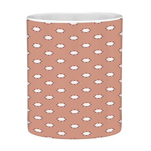 Lead Free Ceramic Coffee Mug Tea Cup White Pink 11 Ounces Funny Coffee Mug Modern Youth Theme Home Decor with Floral like Circles Surrounded by Dots Print Salmon and White (Artic Paws Salmon)